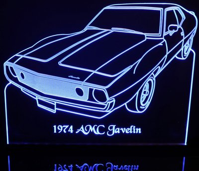 1974 AMC Javelin Acrylic Lighted Edge Lit LED Car Sign / Light Up Plaque
