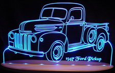 1947 Ford Pickup Acrylic Lighted Edge Lit LED Car Sign / Light Up Plaque