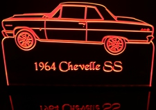 1964 Chevy Chevelle SS Acrylic Lighted Edge Lit LED Car Sign / Light Up Plaque Chevrolet