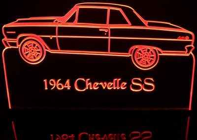 1964 Chevy Chevelle SS Acrylic Lighted Edge Lit LED Sign / Light Up Plaque Full Size Made in USA