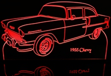 1955 Chevy 2 Door Post Chevrolet New Acrylic Lighted Edge Lit LED Car Sign / Light Up Plaque