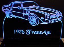 1976 Pontiac Trans Am Acrylic Lighted Edge Lit LED Car Sign / Light Up Plaque