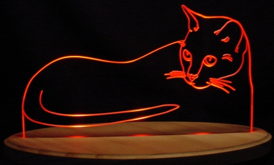Cat Acrylic Lighted Edge Lit LED Sign / Light Up Plaque Full