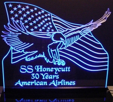 US Flag with Eagle Acrylic Lighted Edge Lit Led Sign / Light Up Plaque