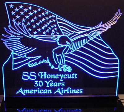 US Flag Bald Eagle (Choose your Text) Acrylic Lighted Edge Lit LED Sign / Light Up Plaque Full Size Made in USA