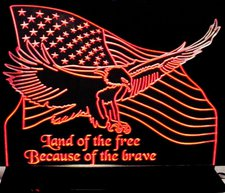 US Flag with Bald Eagle Acrylic Lighted Edge Lit LED Sign / Light Up Plaque Full Size Made in USA