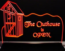 Outhouse Advertising Business Logo Acrylic Lighted Edge Lit LED Sign / Light Up Plaque Full Size Made in USA
