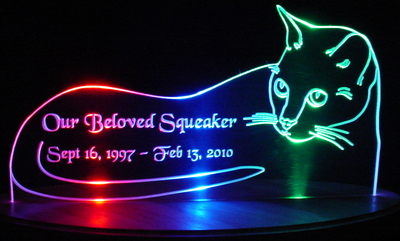 Cat Kitten Acrylic Lighted Edge Lit LED Sign / Light Up Plaque