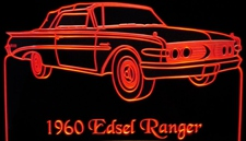 1960 Edsel Ranger Convertible Acrylic Lighted Edge Lit LED Sign / Light Up Plaque Full Size Made in USA