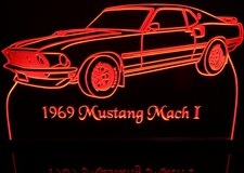 1969 Ford Mustang Mach 1 Acrylic Lighted Edge Lit LED Car Sign / Light Up Plaque