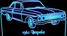 1961 Chevrolet Impala Acrylic Lighted Edge Lit LED Car Sign / Light Up Plaque 61 Chevy
