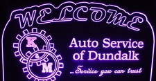 Auto Repair Service Acrylic Lighted Edge Lit LED Advertising Business Logo Sign / Light Up Plaque