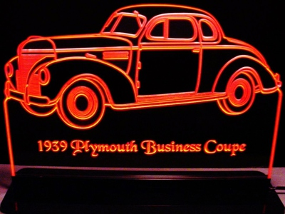1939 Plymouth Business Coupe Acrylic Lighted Edge Lit LED Car Sign / Light Up Plaque