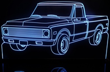 1971 Chevy Pickup Truck Acrylic Lighted Edge Lit LED Sign / Light Up Plaque Full Size Made in USA