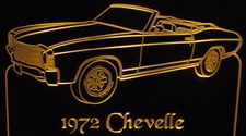 1972 Chevy Chevelle Convertible Acrylic Lighted Edge Lit LED Car Sign / Light Up Plaque Chevrolet