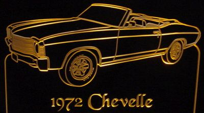 1972 Chevelle Convertible Acrylic Lighted Edge Lit LED Sign / Light Up Plaque Full Size Made in USA
