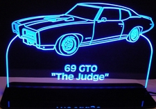 1969 Pontiac Gto Judge Acrylic Lighted Edge Lit LED Car Sign / Light Up Plaque Full Size USA Original