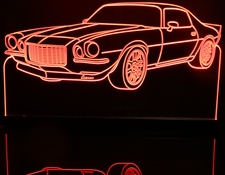 1972 Chevy Camaro Acrylic Lighted Edge Lit LED Car Sign / Light Up Plaque Chevrolet