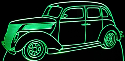 1937 Ford Fordor Acrylic Lighted Edge Lit LED Car Sign / Light Up Plaque 37