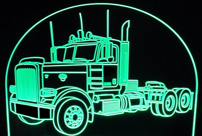 Semi Truck (add your own text) Acrylic Lighted Edge Lit LED Sign / Light Up Plaque Full Size Made in USA