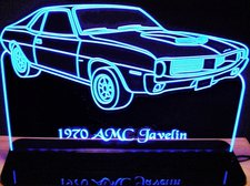 1970 AMC Javelin Acrylic Lighted Edge Lit LED Sign / Light Up Plaque Full Size Made in USA