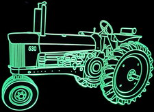 Tractor JD 530 Farm Equipment Acrylic Lighted Edge Lit LED Sign / Light Up Plaque