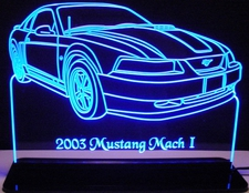 2003 Ford Mustang Mach 1 Acrylic Lighted Edge Lit LED Car Sign / Light Up Plaque