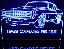 1969 Chevy Camaro RS / SS Acrylic Lighted Edge Lit LED Car Sign / Light Up Plaque Chevrolet