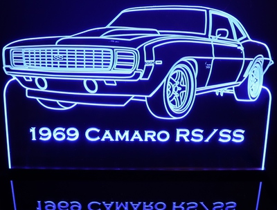 1969 Chevy Camaro RS / SS Acrylic Lighted Edge Lit LED Sign / Light Up Plaque Chevrolet Full Size Made in USA
