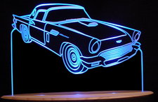 1957 Tbird Thunderbird Acrylic Lighted Edge Lit LED Car Sign / Light Up Plaque