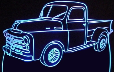 1950 Dodge Fargo Pickup Truck Acrylic Lighted Edge Lit LED Sign / Light Up Plaque 50