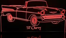 1957 Chevy Convertible Acrylic Lighted Edge Lit LED Car Sign / Light Up Plaque Chevrolet