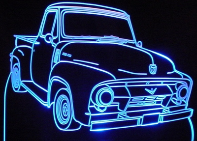 1954 F100 Pickup Truck Acrylic Lighted Edge Lit LED Sign / Light Up Plaque Full Size Made in USA