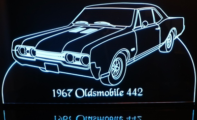 1967 Oldsmobile 442 Acrylic Lighted Edge Lit LED Car Sign / Light Up Plaque 67
