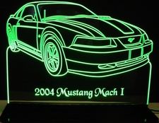 2004 Mustang Mach 1 Acrylic Lighted Edge Lit LED Sign / Light Up Plaque Full Size Made in USA