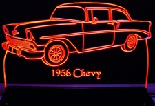 1956 Chevy Belair Acrylic Lighted Edge Lit LED Car Sign / Light Up Plaque Chevrolet