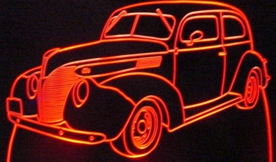 1938 Ford Acrylic Lighted Edge Lit LED Classic Car Sign / Light Up Plaque 38