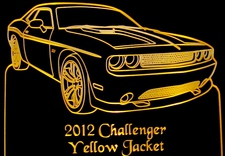 2012 Challenger Acrylic Lighted Edge Lit LED Sign / Light Up Plaque Full Size USA Original
