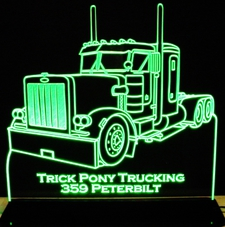 Semi Truck Peterbilt Acrylic Lighted Edge Lit LED Sign / Light Up Plaque