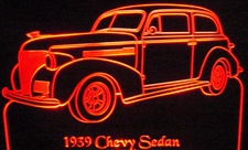 1939 Chevy Sedan Acrylic Lighted Edge Lit LED Car Sign / Light Up Plaque