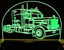 Semi Peterbilt Truck Acrylic Lighted Edge Lit LED Sign / Light Up Plaque Full Size Made in USA