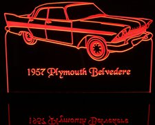 1957 Plymouth Belvedere 4dr Acrylic Lighted Edge Lit LED Sign / Light Up Plaque Full Size Made in USA