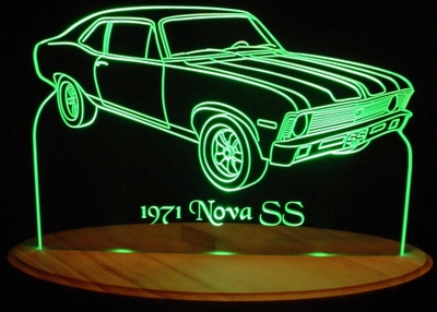 1971 Chevrolet Nova SS Acrylic Lighted Edge Lit LED Car Sign / Light Up Plaque 71 Chevy