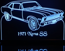 1971 Chevrolet Nova Acrylic Lighted Edge Lit LED Sign / Light Up Plaque Chevy Full Size Made in USA