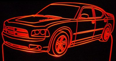 2006 Charger RT Daytona Acrylic Lighted Edge Lit LED Car Sign / Light Up Plaque