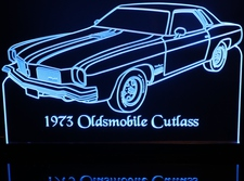 1973 Oldsmobile Cutlass Olds Acrylic Lighted Edge Lit LED Car Sign / Light Up Plaque