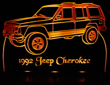 1992 Jeep Cherokee Acrylic Lighted Edge Lit LED Truck Sign / Light Up Plaque 92