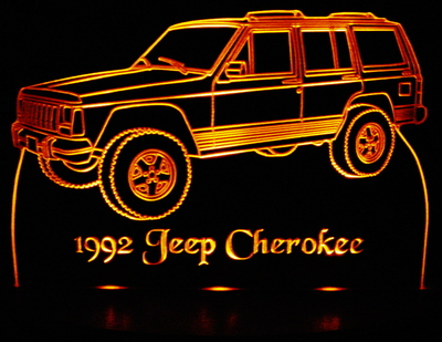 1992 Jeep Cherokee Acrylic Lighted Edge Lit LED Sign / Light Up Plaque Full Size Made in USA