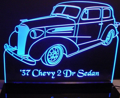 1937 Chevy Deluxe 2 Door Sedan Acrylic Lighted Edge Lit LED Sign / Light Up Plaque Full Size Made in USA