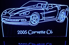 2005 Corvette C6 Convertible Acrylic Lighted Edge Lit LED Sign / Light Up Plaque Full Size Made in USA